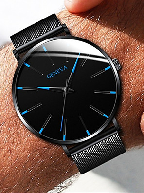 cheap Quartz Watches-Geneva Couple's Dress Watch Quartz Formal Style Mesh Stainless Steel Black / Silver / Rose Gold Casual Watch Analog Fashion - Black / White Black / Blue Rose Gold One Year Battery Life