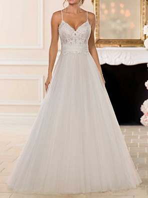 cheap Evening Dresses-A-Line Wedding Dresses V Neck Sweep / Brush Train Lace Tulle Spaghetti Strap Romantic Backless with Bow(s) 2020