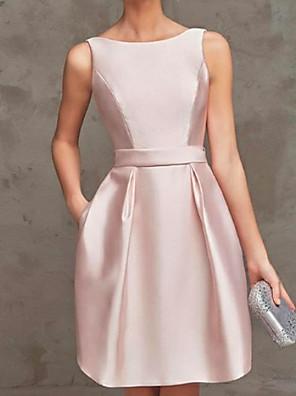 cheap Prom Dresses-A-Line Minimalist Pink Graduation Cocktail Party Dress Boat Neck Sleeveless Short / Mini Satin with Pleats 2020