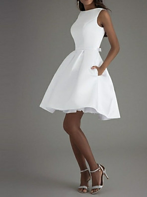 cheap Free Shipping-Back To School A-Line Minimalist White Graduation Cocktail Party Dress Boat Neck Sleeveless Knee Length Polyester with Bow(s) Pleats 2020 Hoco Dress