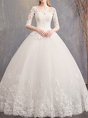 cheap Wedding Dresses-A-Line Wedding Dresses Off Shoulder Floor Length Tulle Half Sleeve Glamorous See-Through Backless Illusion Sleeve with Appliques 2020