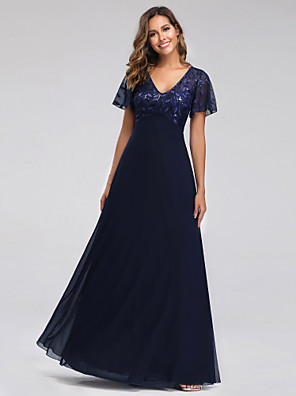 cheap Evening Dresses-A-Line Empire Blue Party Wear Prom Dress V Neck Short Sleeve Floor Length Tulle Sequined with Sequin Appliques 2020