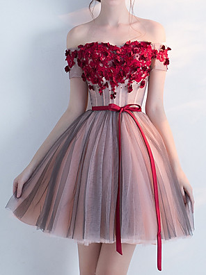 cheap Cocktail Dresses-A-Line Floral Red Homecoming Cocktail Party Dress Off Shoulder Short Sleeve Short / Mini Tulle with Bow(s) Appliques 2020
