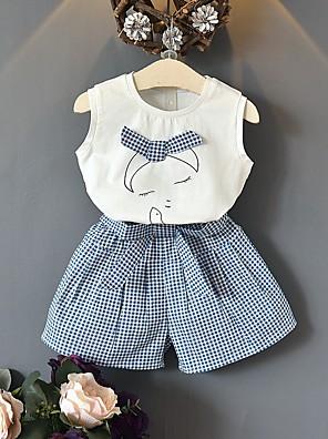 cheap Girls' Dresses-Kids Girls' Basic Plaid Sleeveless Clothing Set Light Blue