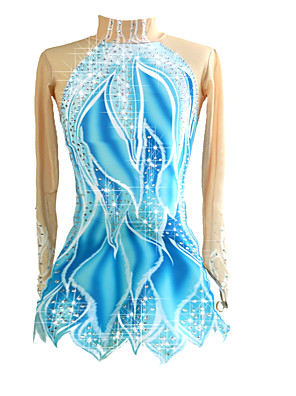 cheap Ice Skating Dresses , Pants & Jackets-Figure Skating Dress Women's Girls' Ice Skating Dress Blue / White Stretchy Competition Skating Wear Handmade Classic Long Sleeve Ice Skating Figure Skating
