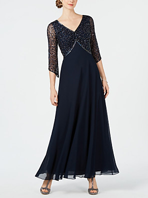cheap Prom Dresses-A-Line Mother of the Bride Dress Sparkle & Shine V Neck Ankle Length Chiffon Tulle 3/4 Length Sleeve with Beading 2020 / Bell Sleeve Mother of the groom dresses