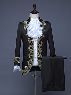 cheap Evening Dresses-Prince Embossed Retro Vintage Rococo Medieval 18th Century Coat Pants Outfits Masquerade Men's Costume White / Black / Red Vintage Cosplay Party Prom Long Sleeve / Collar / Collar