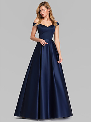 cheap Bridesmaid Dresses-A-Line Elegant & Luxurious Formal Evening Dress Plunging Neck Sleeveless Floor Length Charmeuse with Ruched 2020