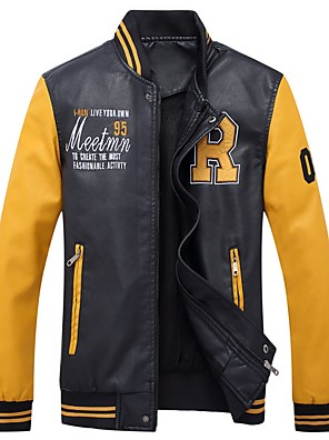 cheap Men's Jackets & Coats-Men's Daily Fall & Winter Regular Leather Jacket, Color Block Stand Long Sleeve PU White / Yellow / Blue