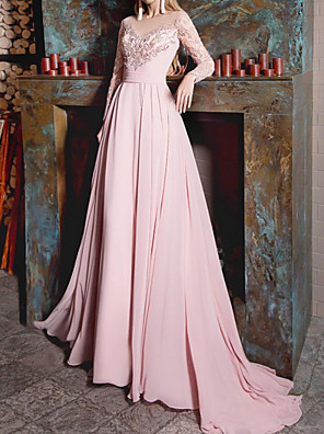 cheap Evening Dresses-A-Line Luxurious Pink Engagement Formal Evening Dress Illusion Neck Long Sleeve Court Train Chiffon with Appliques 2020