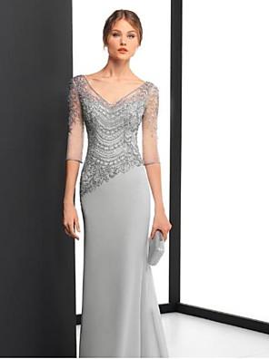 cheap Mother of the Bride Dresses-Sheath / Column Elegant Formal Evening Dress V Neck Half Sleeve Floor Length Chiffon with Appliques 2020