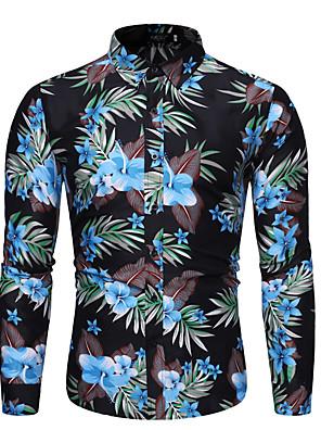 povoljno Muške košulje-Muškarci Dnevno Majica Cvjetni print Grafika Dugih rukava Tops Ovratnik s gumbima Crn Navy Plava