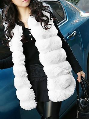 cheap Women's Fur & Faux Fur Coats-Women's Daily Fall & Winter Regular Vest, Solid Colored V Neck Sleeveless Faux Fur Black / White / Purple