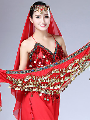 cheap Evening Dresses-Belly Dance / Dance Accessories Hip Scarves Women's Training / Performance Gemstone / Metal / Velvet Chiffon Gold Coin / Crystals / Rhinestones Classic Theme Hip Scarf