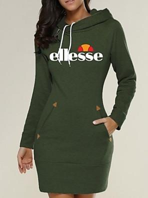 cheap Women's Dresses-Women's Sheath Dress - Long Sleeve Letter Wine Black Army Green Dark Gray Gray S M L XL XXL