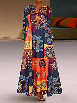 cheap Summer Dresses-Women's Maxi Shift Dress - Long Sleeve Geometric V Neck Elegant Red Yellow M L XL XXL XXXL