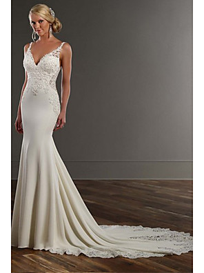 cheap Wedding Dresses-Mermaid / Trumpet Wedding Dresses V Neck Chapel Train Lace Stretch Satin Spaghetti Strap See-Through Beautiful Back with Appliques 2020