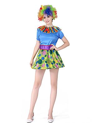 cheap Quartz Watches-Burlesque Clown Cosplay Costume Adults' Women's Halloween Festival Halloween Festival / Holiday Terylene Blue+Green Women's Easy Carnival Costumes Geometric / Hat / Hat