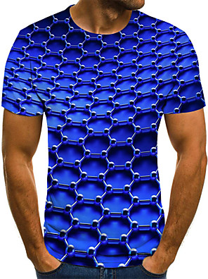 cheap Leggings-Men's Plus Size T-shirt Graphic Print Tops Street chic Round Neck Blue Gold / Short Sleeve / Summer