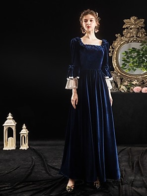 cheap Prom Dresses-Maria Antonietta Rococo Baroque Victorian Dress Party Costume Masquerade Women's Lace Costume Ink Blue Vintage Cosplay Party Halloween Party & Evening Floor Length Ball Gown Plus Size