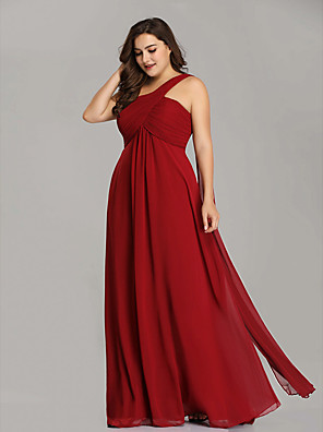 cheap Evening Dresses-A-Line Plus Size Red Holiday Wedding Guest Dress One Shoulder Sleeveless Floor Length Chiffon with Pleats Draping 2020