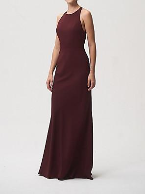 cheap Bridesmaid Dresses-Sheath / Column Halter Neck Floor Length Chiffon Bridesmaid Dress with