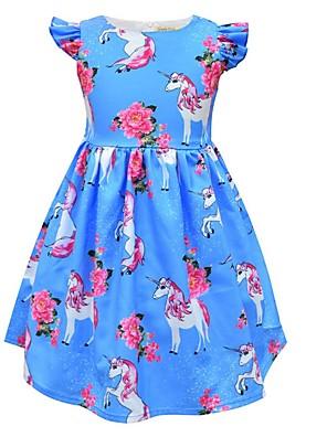 cheap Girls' Dresses-Kids Girls' Cute Cartoon Dress Blue