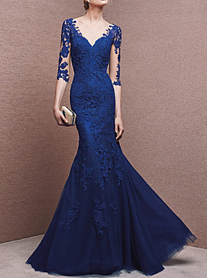cheap Prom Dresses-Mermaid / Trumpet Beautiful Back Formal Evening Dress Plunging Neck Half Sleeve Floor Length Lace with Buttons Lace Insert 2020
