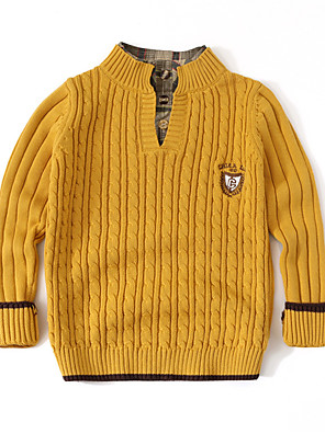 cheap Girls' Dresses-Kids Boys' Basic Solid Colored Long Sleeve Sweater & Cardigan Yellow