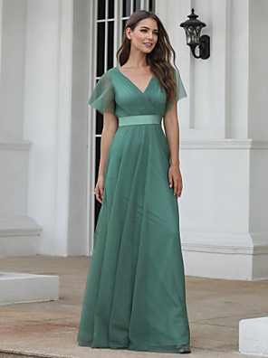 cheap Evening Dresses-A-Line Empire Turquoise / Teal Wedding Guest Prom Dress V Neck Short Sleeve Floor Length Chiffon Tulle with Pleats Ruched 2020