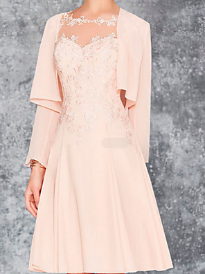 cheap Prom Dresses-A-Line Mother of the Bride Dress Wrap Included Jewel Neck Knee Length Chiffon Lace Long Sleeve with Appliques Ruching 2020