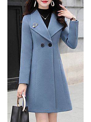 cheap Women's Coats & Trench Coats-Women's Coat Daily Long Solid Colored Blue / Fuchsia / Green S / M / L