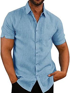 cheap Men's Shirts-Men's Solid Colored Shirt Daily White / Black / Blue / Gray / Short Sleeve