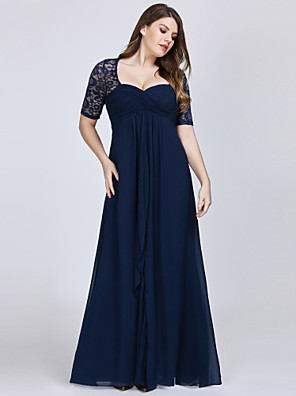 cheap Prom Dresses-A-Line Plus Size Blue Wedding Guest Formal Evening Dress Sweetheart Neckline Short Sleeve Floor Length Chiffon Lace with Draping Lace Insert 2020