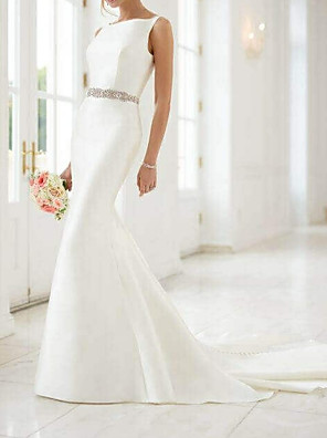 cheap Wedding Dresses-Mermaid / Trumpet Wedding Dresses Jewel Neck Sweep / Brush Train Satin Regular Straps Simple Elegant with Sashes / Ribbons Buttons 2020