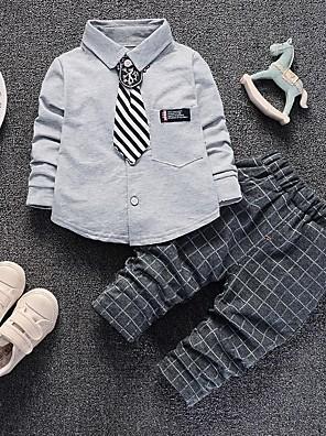 cheap Boys' Clothing Sets-Kids Boys' Basic Print Long Sleeve Clothing Set White