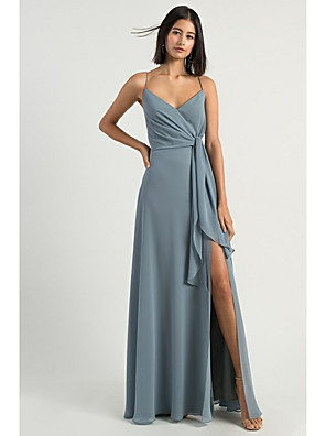 cheap Evening Dresses-A-Line Spaghetti Strap Floor Length Chiffon Bridesmaid Dress with Split Front / Open Back