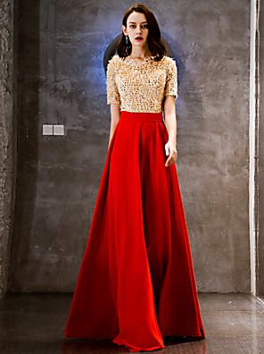 cheap Mother of the Bride Dresses-A-Line Elegant Formal Evening Dress V Neck Short Sleeve Floor Length Lace Sequined with Sequin 2020