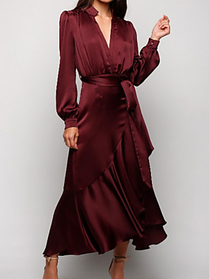 cheap Cocktail Dresses-A-Line Mother of the Bride Dress Plus Size V Neck Ankle Length Satin Long Sleeve with Sash / Ribbon Ruching 2020