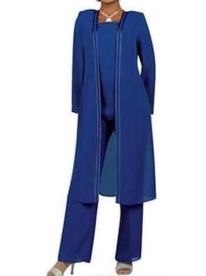 cheap Cocktail Dresses-Pantsuit / Jumpsuit Mother of the Bride Dress Elegant Plus Size Square Neck Floor Length Chiffon Long Sleeve with Sash / Ribbon Ruching 2020