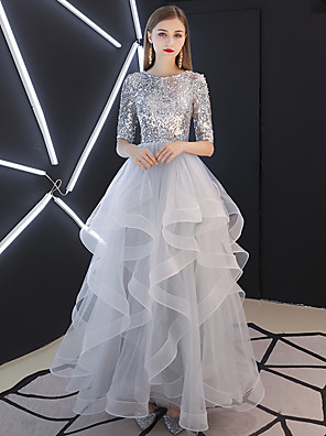 cheap Evening Dresses-Ball Gown Sparkle Grey Prom Formal Evening Dress Jewel Neck Half Sleeve Floor Length Tulle Sequined with Sequin Tier 2020