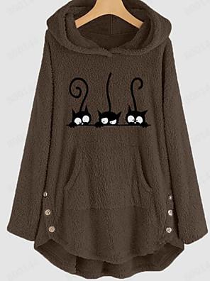 cheap Girls' Dresses-Women's Maternity Hoodie Jacket / Hoodie Cartoon / Character Basic / Cute Holiday Velvet Loose Blushing Pink Light gray Brown S M L XL XXL XXXL XXXXL / Plus Size