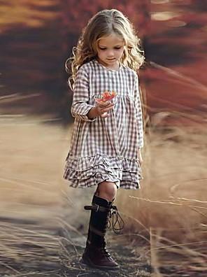 cheap Girls' Dresses-Kids Girls' Houndstooth Print Long Sleeve Knee-length Dress Beige