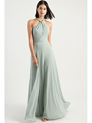cheap Bridesmaid Dresses-A-Line Halter Neck Floor Length Chiffon Bridesmaid Dress with Criss Cross / Open Back