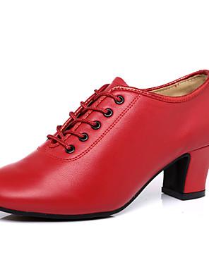 cheap Quartz Watches-Women's Latin Shoes Heel Thick Heel Nappa Leather Paillette Dark Red / Black / Dark Red / Jazz Shoes / Performance