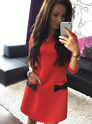 cheap Mini Dresses-Women's Sheath Dress - Long Sleeve Solid Colored Bow Casual Daily Wear White Black Red S M L XL