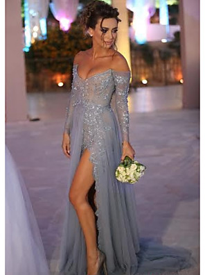 cheap Prom Dresses-A-Line Sexy Blue Engagement Formal Evening Dress Off Shoulder Long Sleeve Sweep / Brush Train Chiffon Lace with Split Lace Insert 2020