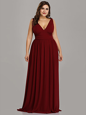 cheap Prom Dresses-A-Line Plus Size Red Wedding Guest Formal Evening Dress V Neck Sleeveless Floor Length Chiffon with Pleats 2020