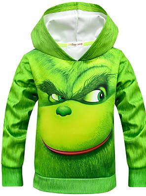 cheap Girls' Dresses-Kids Boys' Street chic Print Long Sleeve Cotton Hoodie & Sweatshirt Green