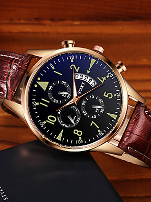 cheap Dress Classic Watches-Men's Dress Watch Quartz Stylish Fashion Calendar / date / day PU Leather Black / Brown Analog - Bronze Black / Rose Gold Black One Year Battery Life / Stainless Steel / Noctilucent